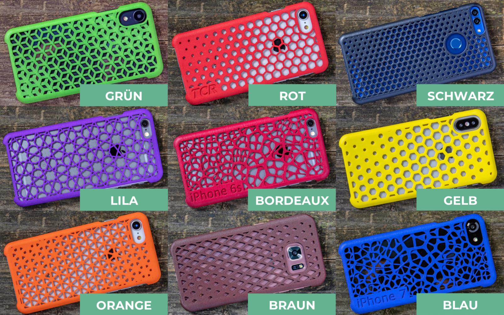 Übersicht der Farben für 3D-gedruckte Handyhüllen